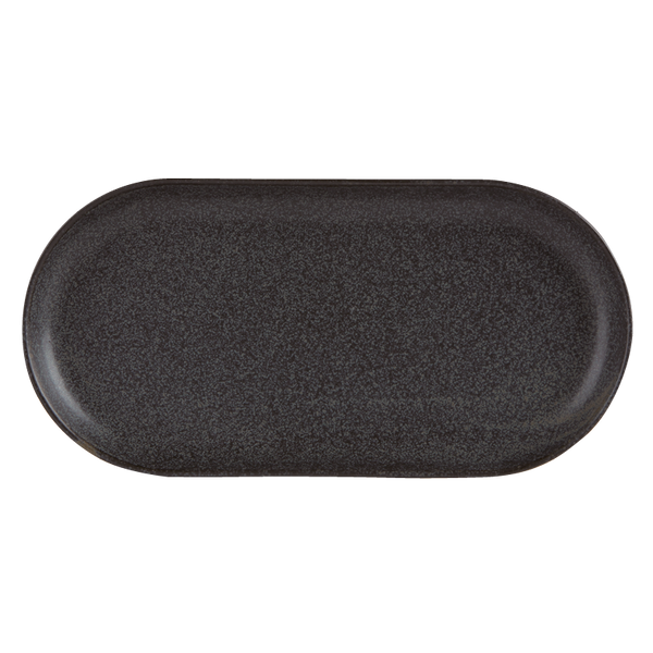 "Porcelite Seasons Graphite Narrow Oval Plate 32 x 20cm / 12 ½"" x 8"" - Pack of 6"