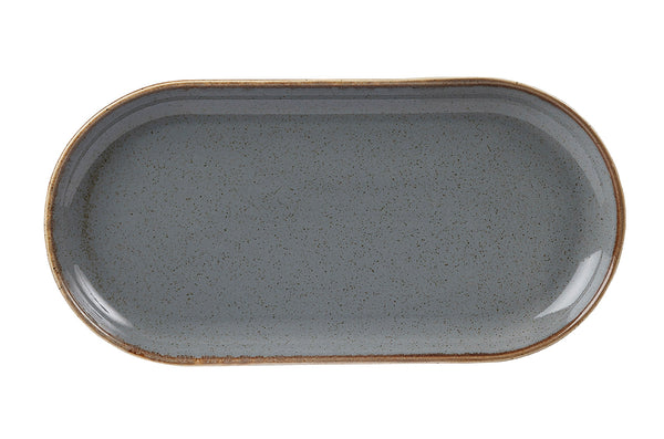 "Porcelite Seasons Storm Narrow Oval Plate 32 x 20cm / 12 ½"" x 8"" - Pack of 6"
