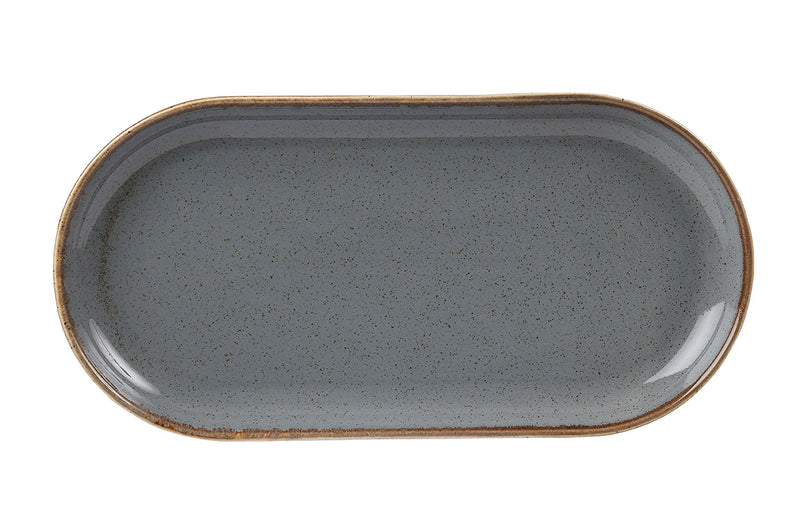 "Porcelite Seasons Storm Narrow Oval Plates 32 x 20cm / 12 ½"" x 8"" - Pack of 6"
