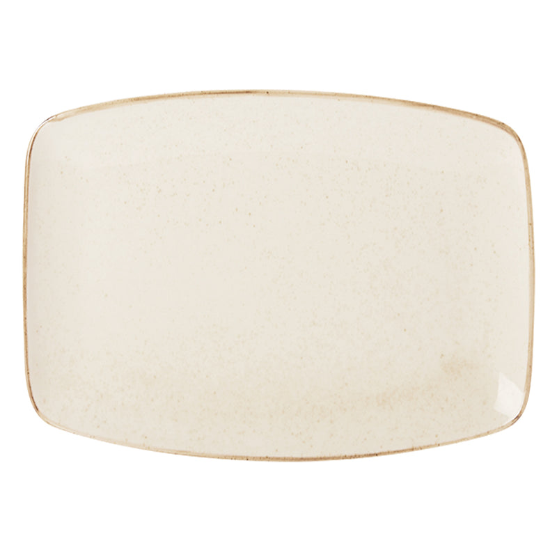 "Porcelite Seasons Oatmeal Rectangular Plates 27 x 20cm / 10 ½"" x 7 ¾"" - Pack of 6"