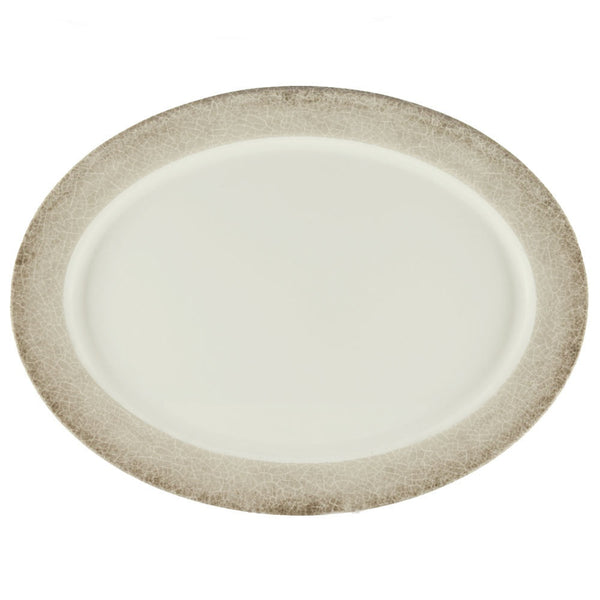 Jazz Oval Melamine Platter with Crackle-Finished Border