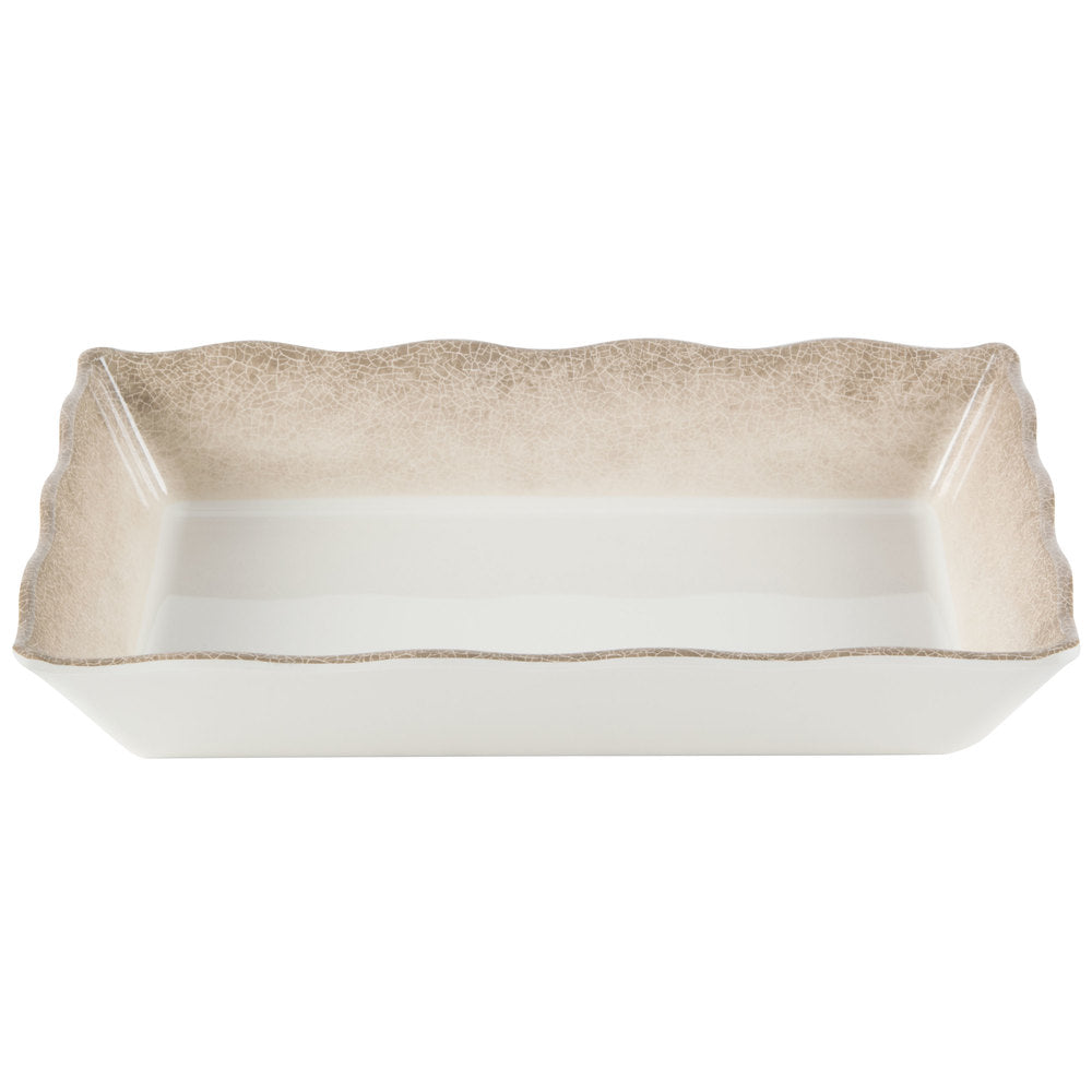Jazz Square Melamine Triangular Tray with Crackle Finished Border