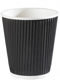 12oz Black Ripple Wall Hot Drink Cups - Pack of 500