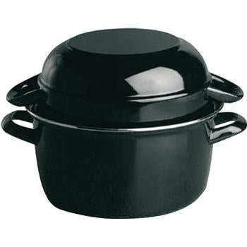 Black Enamelled Mussel Pot with Lid - Kitchway.com