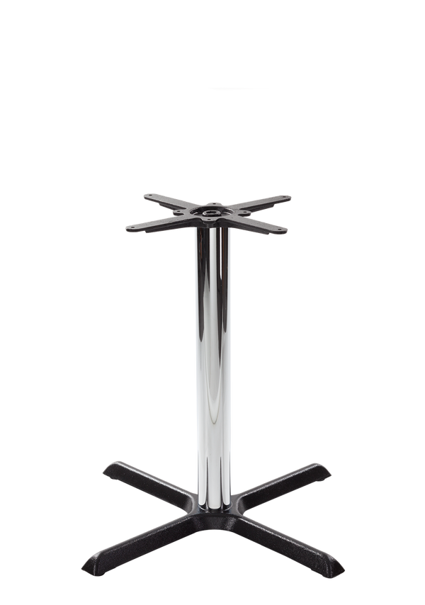 Black cruciform table base - Medium - Chrome dining height - 730 mm