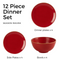 Seasons Stone 12 Piece Dinner Set - Light Grey