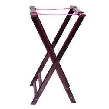 Double Bar Tray Stand Mahogany Wood Finish - Kitchway.com