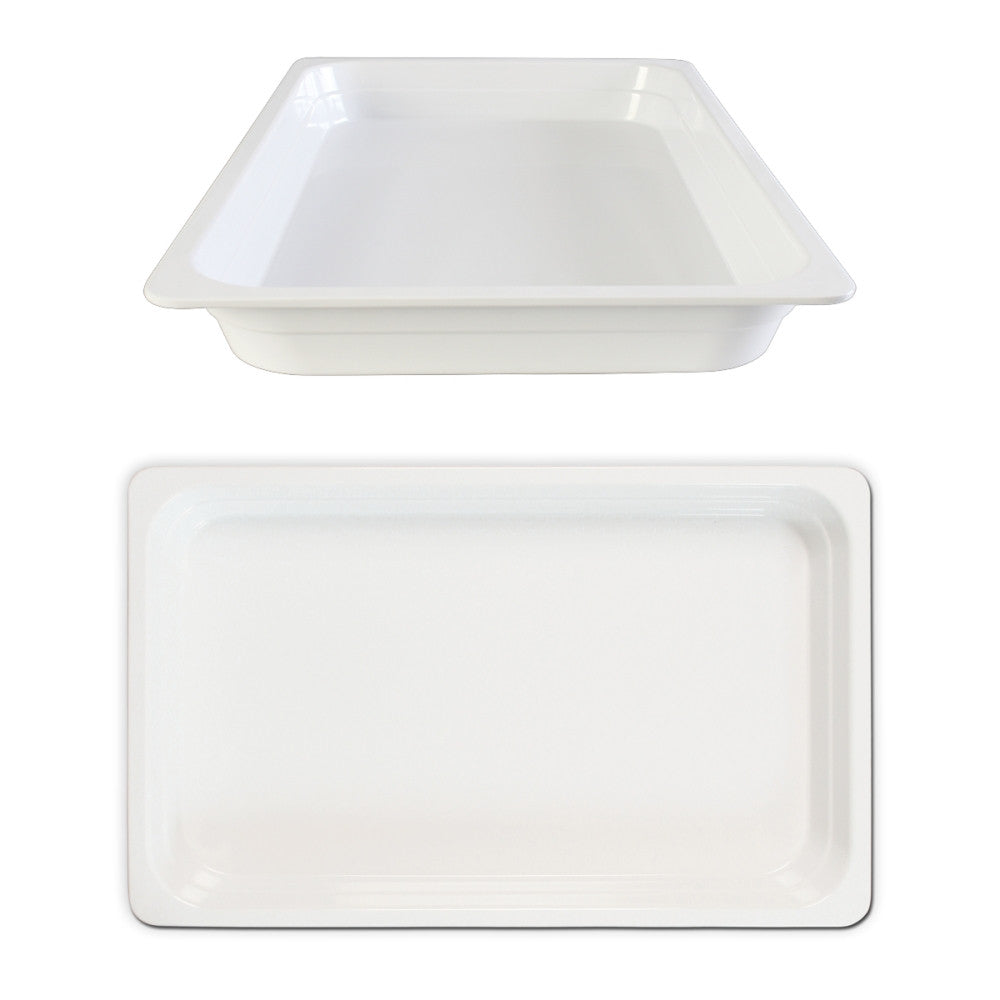"Full Size 1/1"" Deep White Anti-Jam Melamine Food Pan"