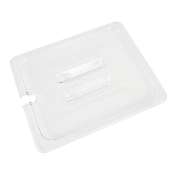 Half Size Polycarbonate Food Pan Lid with Spoon Notch Handle - Kitchway.com