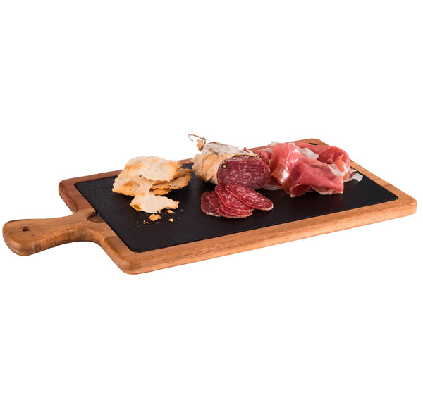 "Oiled Acacia Wood Serving Board with Slate Tray inset 33 x 20cm / 13"" x 8"" - Pack of 1"