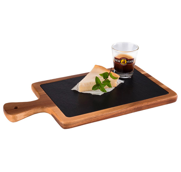 "Oiled Acacia Wood Serving Board with Slate Tray inset 26 x 18cm / 10 ¼"" x 7"" - Pack of 1"