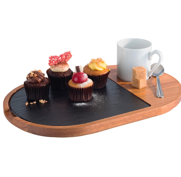 "Oiled Acacia Wood Serving Board with Slate Tray inset 28 x 17.5cm / 11"" x 7""  - Pack of 1"