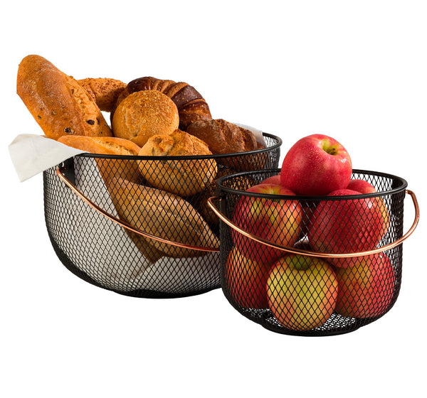 "Black Metal Basket with Copper look Handle 21 x 16.5cm / 8 ⅓"" x 6 ½"" - Pack of 1"