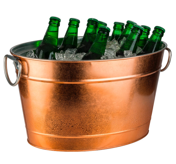 Beverage Tub Galvanised Metal 'Copper look' with Plastic Insert (11 Ltr) - Pack of 1