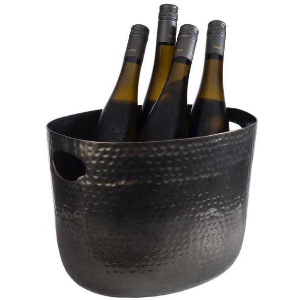 Handled Wine/Champagne Bowl Aluminium 'Gunmetal look' Hammered Surface (7 Ltr) - Pack of 1