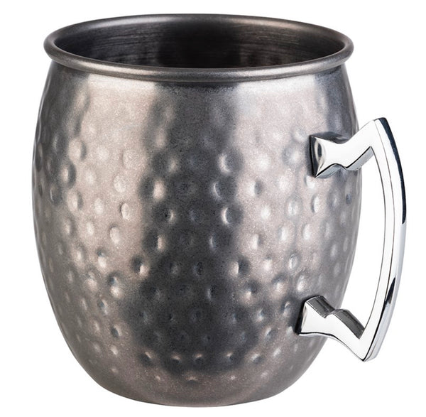 "Moscow Mule Barrel Mug Stainless Steel Antique Hammered look (Stainless Steel) 10 x 9cm / 4"" x 3 ½"" (0.5 Ltr) - Pack of 1"