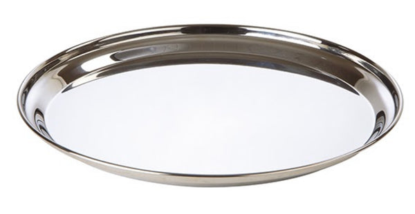 "Stainless Steel Round Flat Trays 30cm / 12"" - Pack of 1"