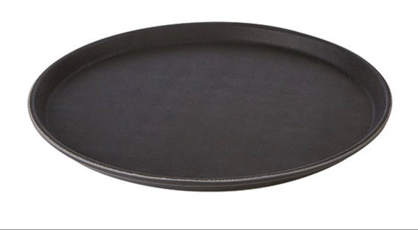 "Black/Brown Round Non-Slip Trays 35.5cm / 14"" - Pack of 1"