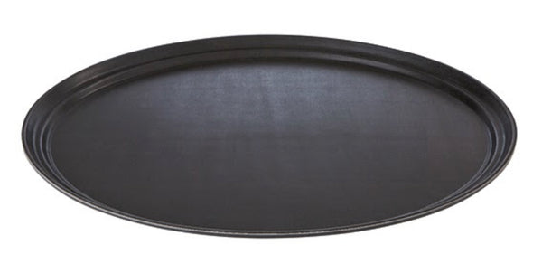 "Black/Brown Oval Non-Slip Tray 56 x 68.5cm / 22"" x 27"" - Pack of 1"