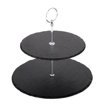 APS Natural Slate 2 Tier Tray Cake Stand 25/20cm