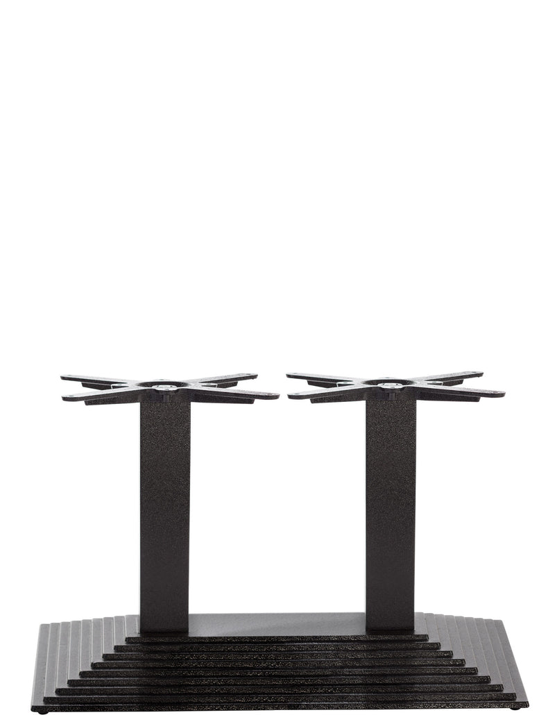 Black Cast Iron Rectangular Step Table Base - Twin - Coffee height - 450 mm