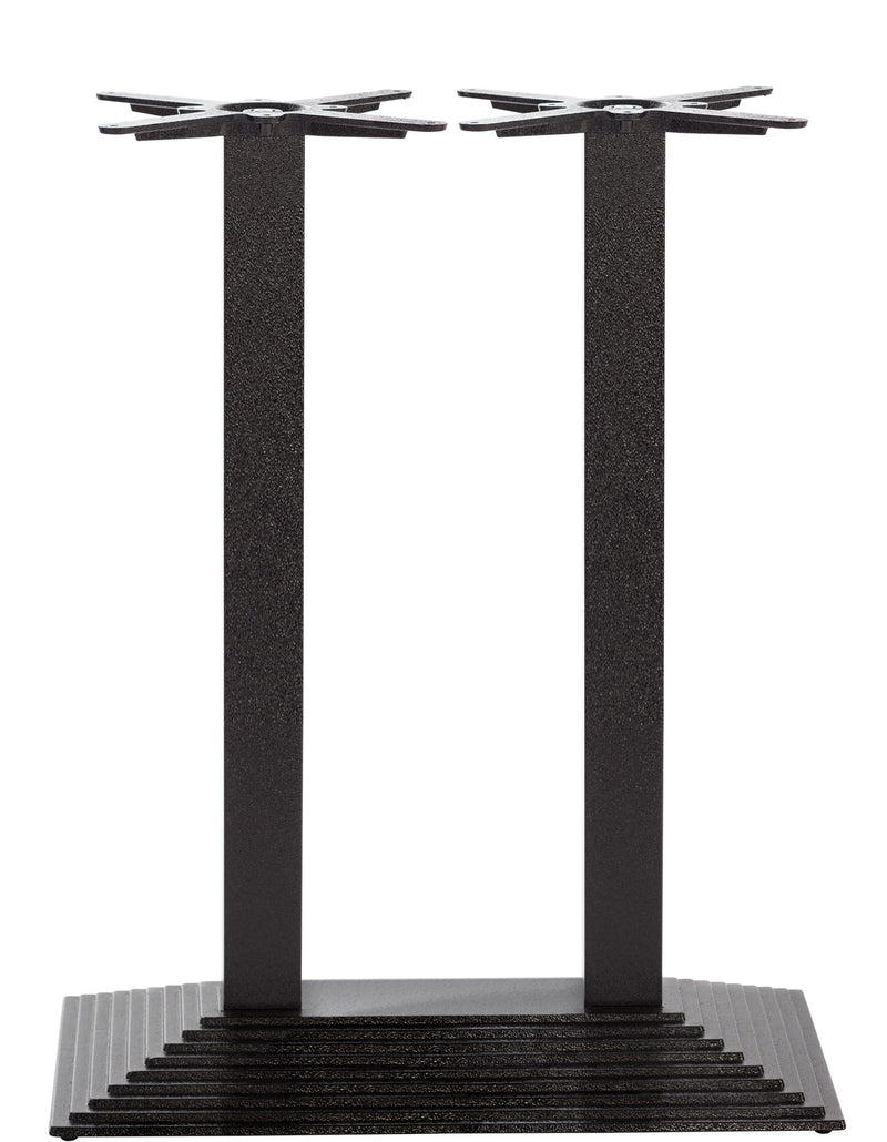 Black Cast Iron Rectangular Step Table Base - Twin - Poseur height - 1080 mm