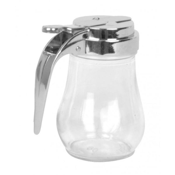 Glass Syrup Dispenser with Chrome Plated Cast Zinc Alloy Top- 12/Pack - Kitchway.com