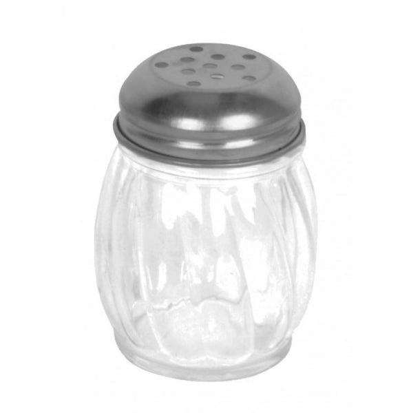 Stainless Steel Swirl Glass Cheese Shaker- 12/Pack - Kitchway.com