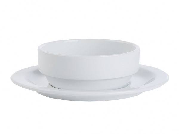 Porcelite Prestige Soup Bowl and Stand/Saucer 16cm - Kitchway.com