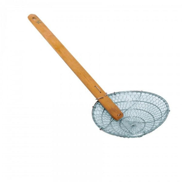 Stainless Steel Bamboo-Handled Coarse Skimmer - Kitchway.com