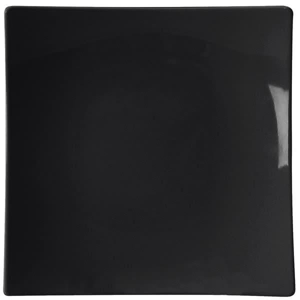 Classic Black Square Melamine Flare Plate-12/case - Kitchway.com