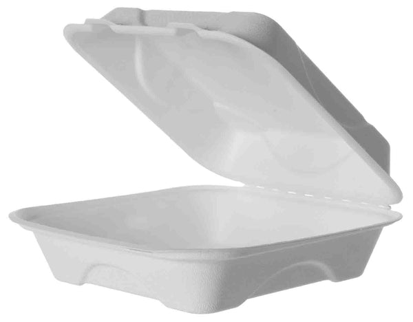 Green Planet Bagasse Clamshell Box -  200x200x75mm - Box of 200