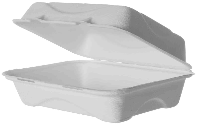 Green Planet Bagasse Clamshell Box -  230x150x75mm - Box of 250