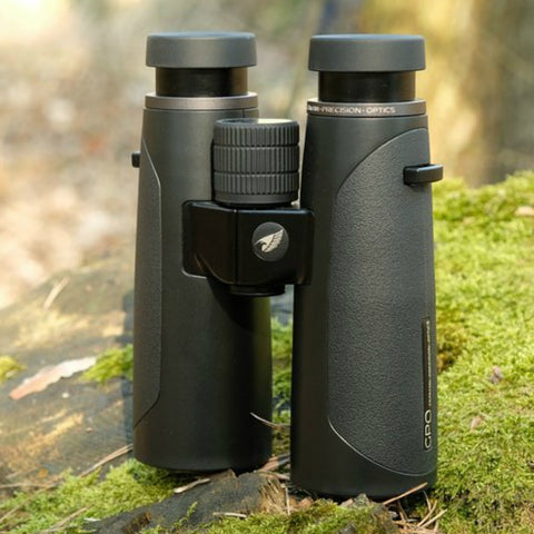 GPO 10X42 PASSION HD 42 BINOCULARS BLACK Upright on Rock