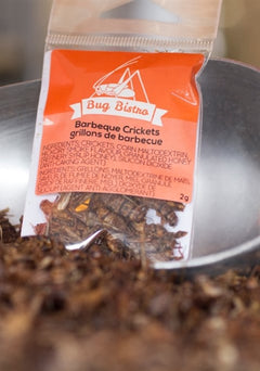 BBQ roasted crickets available, 2g small bags