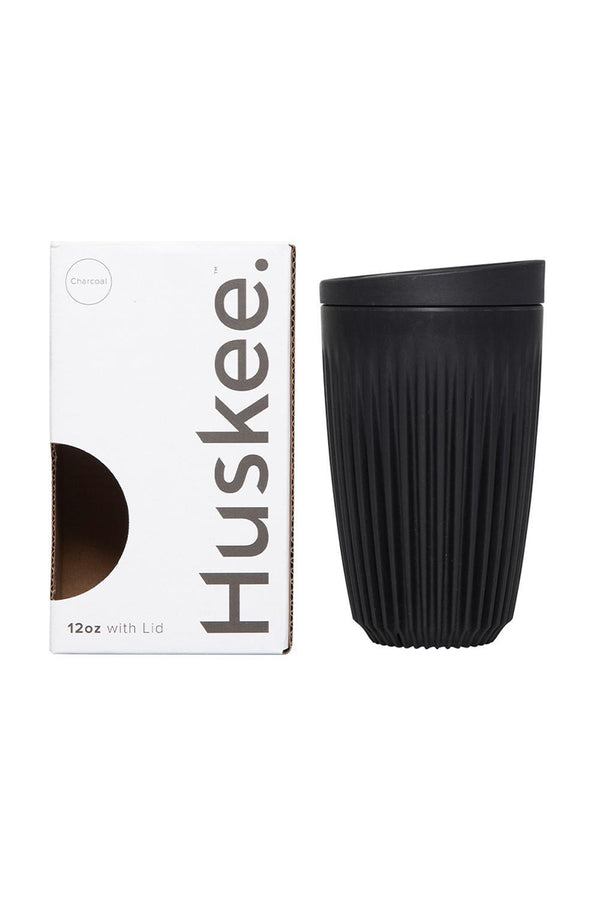 Huskee Reusable Coffee Cup with Lid Charcoal 12oz 354ml