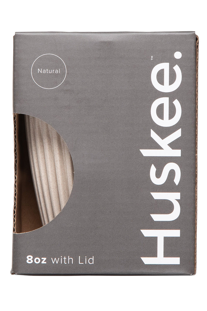Huskee Reusable Coffee Cup with Lid Natural 8oz 236ml