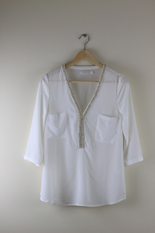 Andy and Lucy Tiffany Beaded Neck Top White - Talis Collection