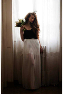 Andy and Lucy Jane Pleated Maxi Skirt White - Talis Collection
