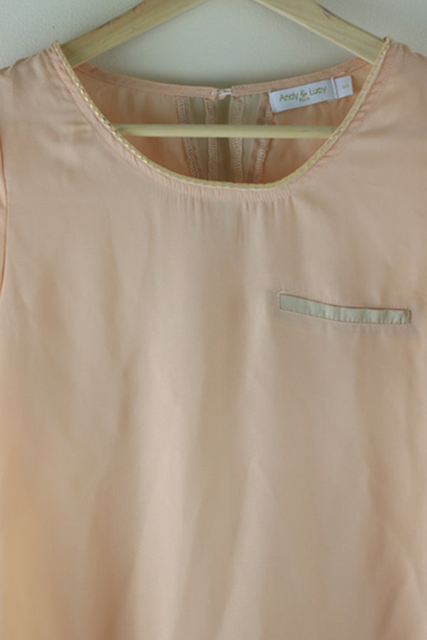 Andy and Lucy Beaded Neck Top Blush - Talis Collection