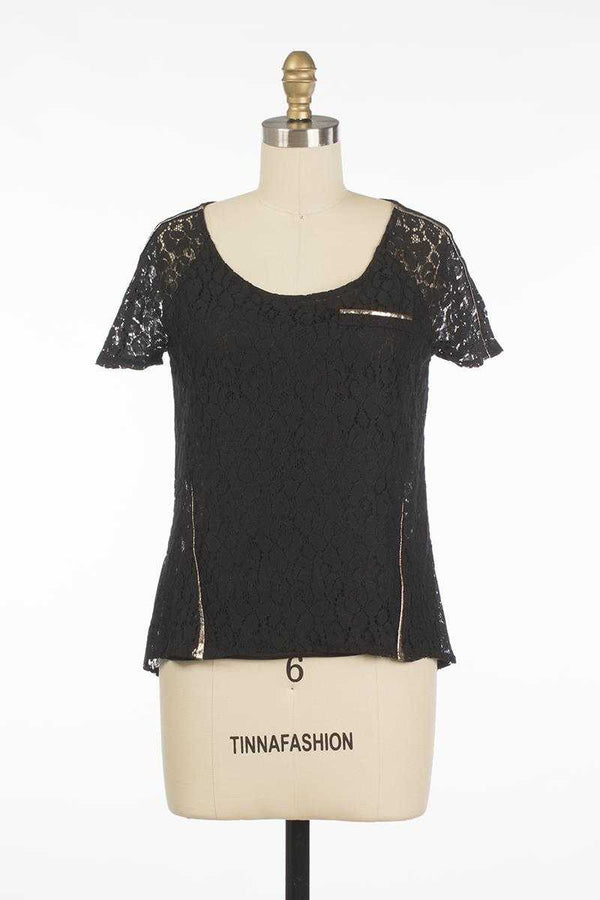 Andy and Lucy Tess Lace Top Black - Talis Collection