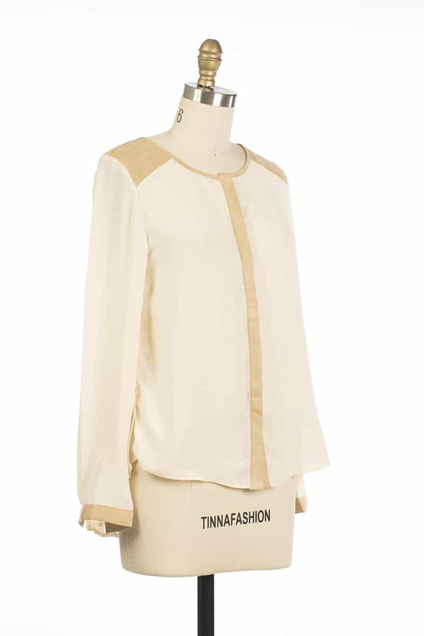 Andy and Lucy Cassandre Colorblock Top Beige - Talis Collection