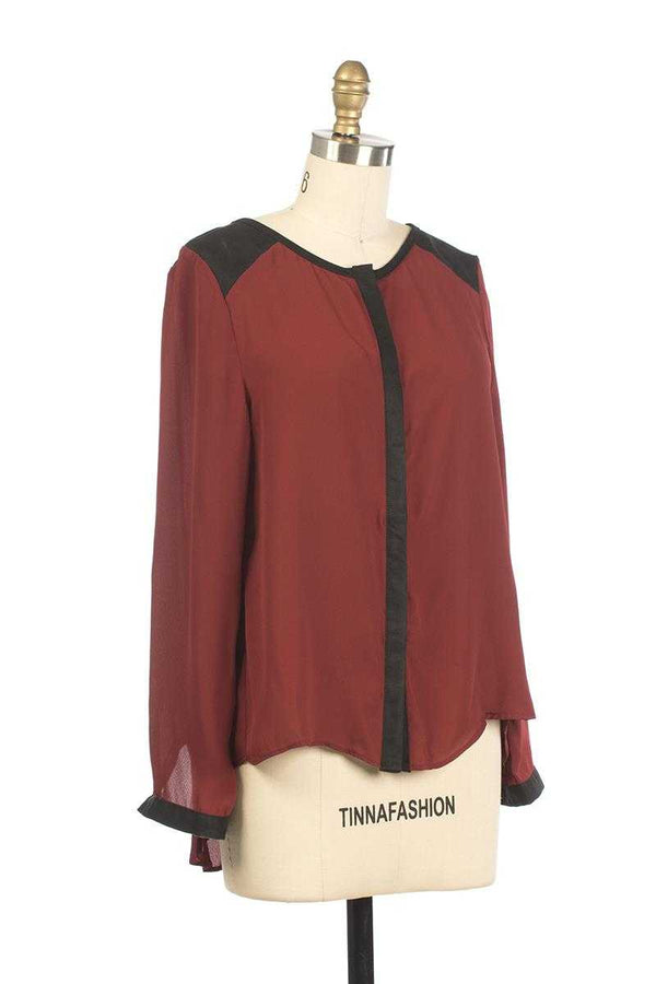 Andy and Lucy Cassandre Colorblock Top Red Wine - Talis Collection