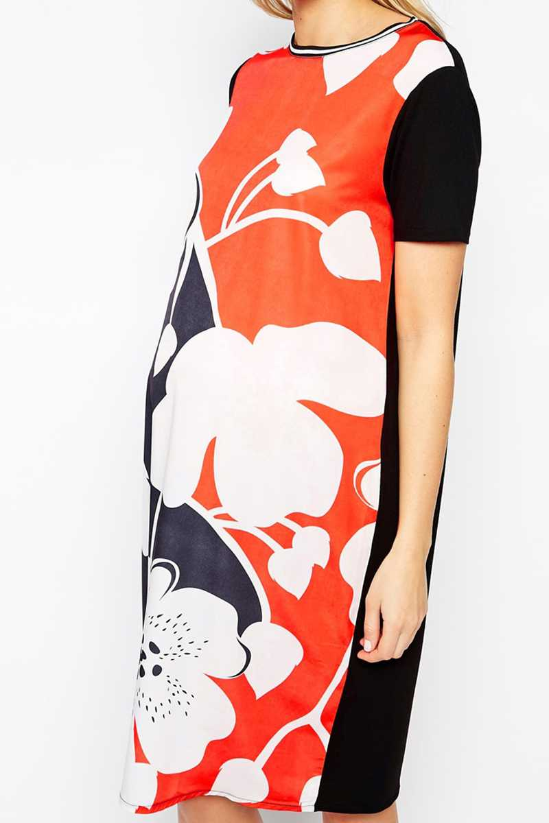 ASOS Maternity Exclusive Midi Shift Dress in Oversized Floral - Talis Collection