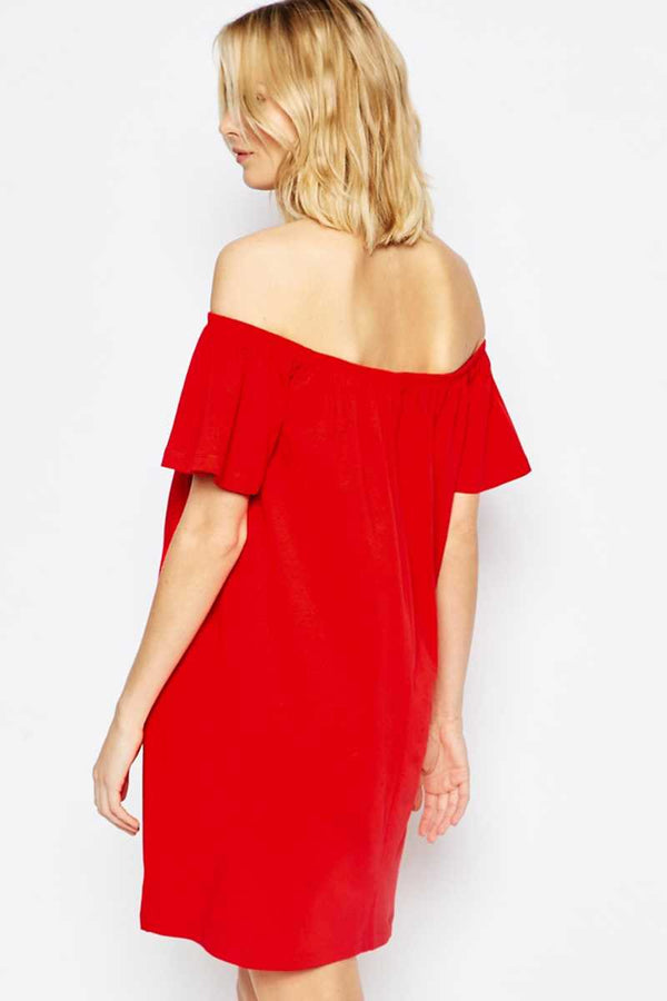 ASOS Maternity Off Shoulder Mini Dress Red - Talis Collection