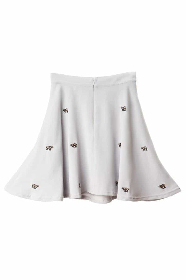 Book of Deer Grizzly Bear Embroidered Skater Skirt - Talis Collection