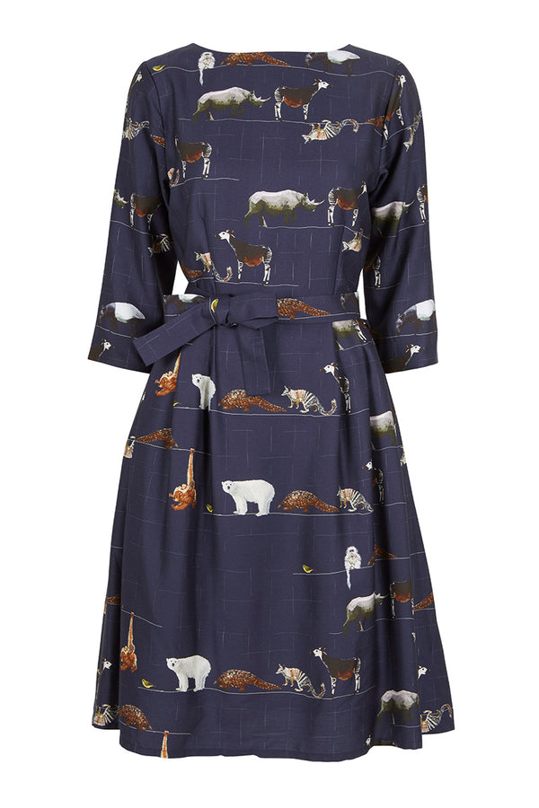 Palava Beatrice Long Sleeve Tencel Dress Navy Endangered Animals