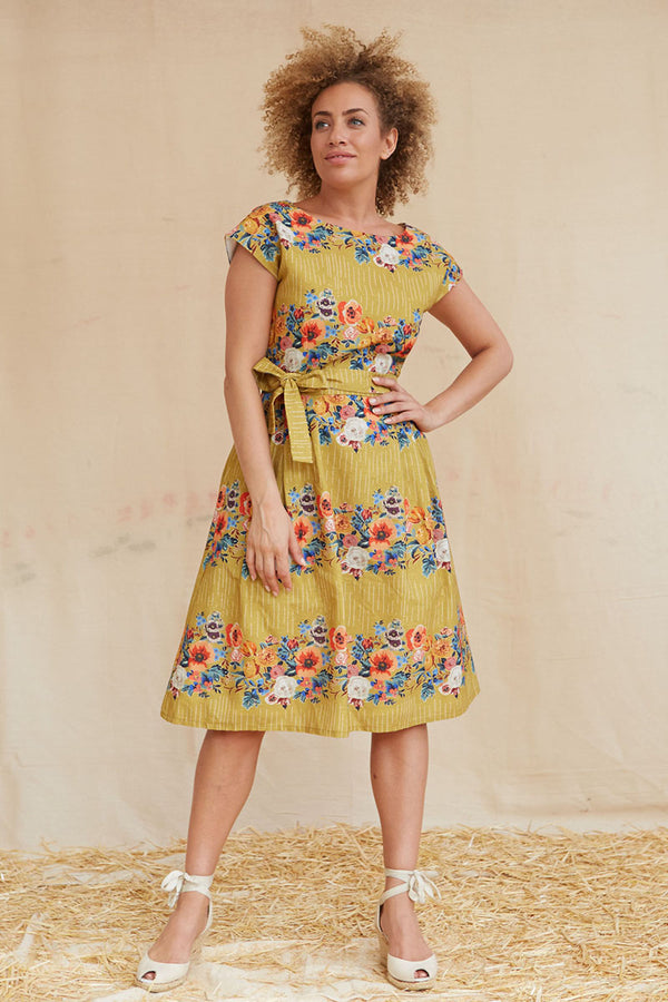 Palava Beatrice Dress Cap Sleeves Mustard Floral Garland
