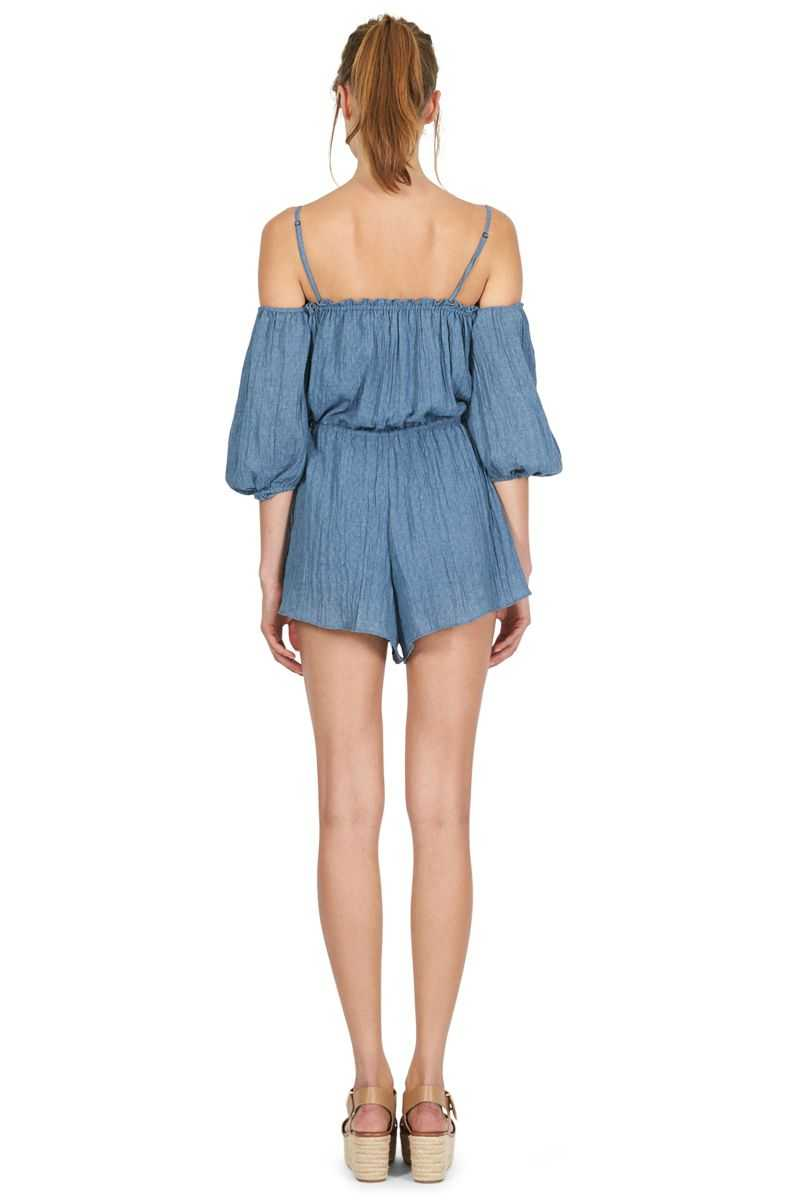 Cooper St Every Breath Off Shouder Playsuit Denim - Talis Collection