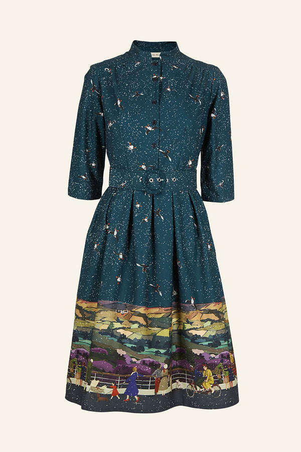 Palava Cynthia Dress Teal Yorkshire Dales (100% Organic Cotton)